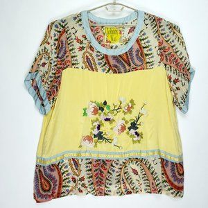 JOHNNY WAS Plus Size Embroidered Silk Blouse 3X